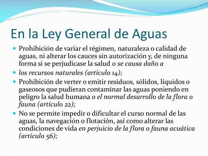 En la Ley General de Aguas