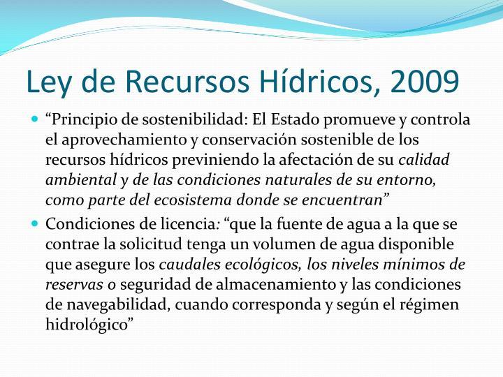 Ley de Recursos Hídricos, 2009