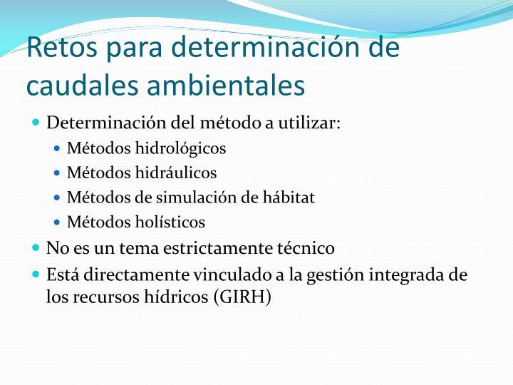 Retos para determinación de caudales ambientales
