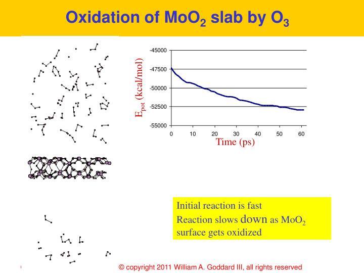Oxidation of MoO