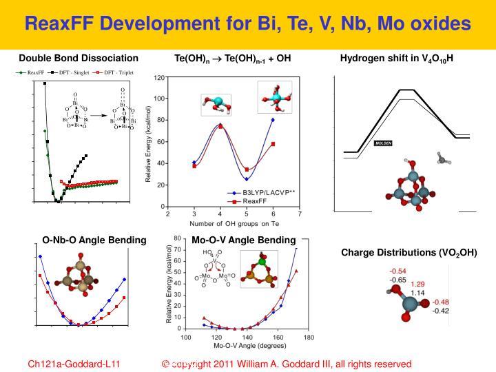 ReaxFF Development for Bi, Te, V, Nb, Mo oxides