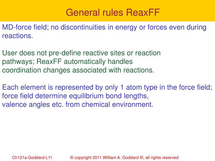 General rules ReaxFF