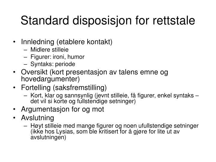 Standard disposisjon for rettstale