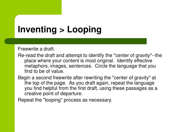 Inventing > Looping