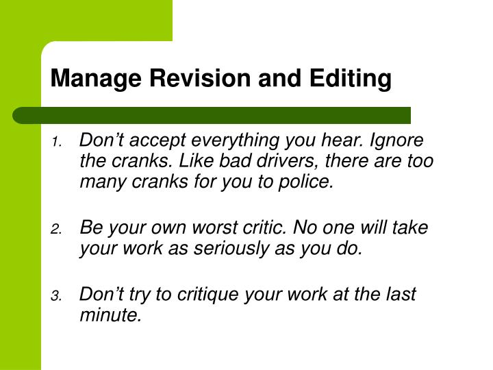 Manage Revision and Editing