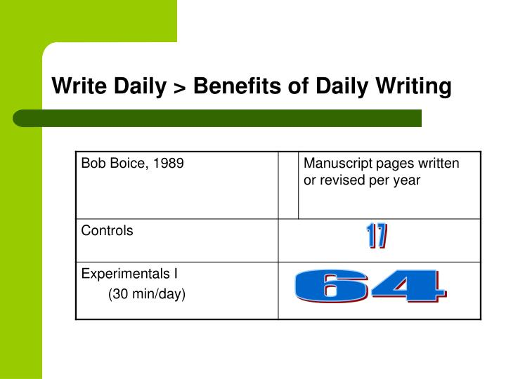 Write Daily > Benefits of Daily Writing