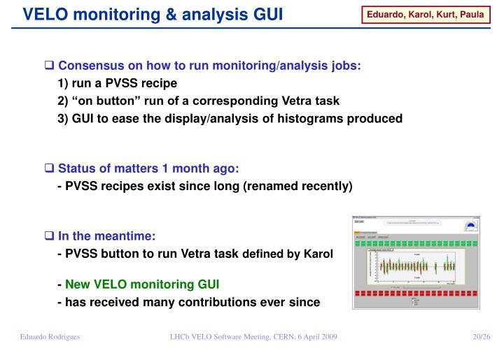 VELO monitoring & analysis GUI