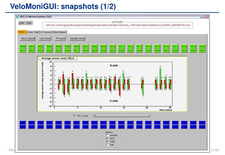 VeloMoniGUI: snapshots (1/2)