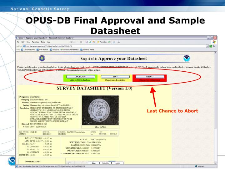OPUS-DB Final Approval and Sample Datasheet