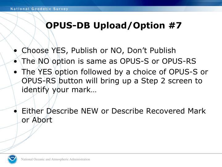 OPUS-DB Upload/Option #7