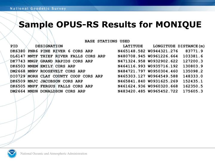 Sample OPUS-RS Results for MONIQUE