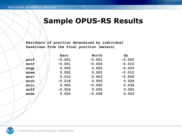 Sample OPUS-RS Results