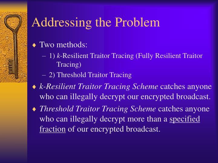 Addressing the Problem