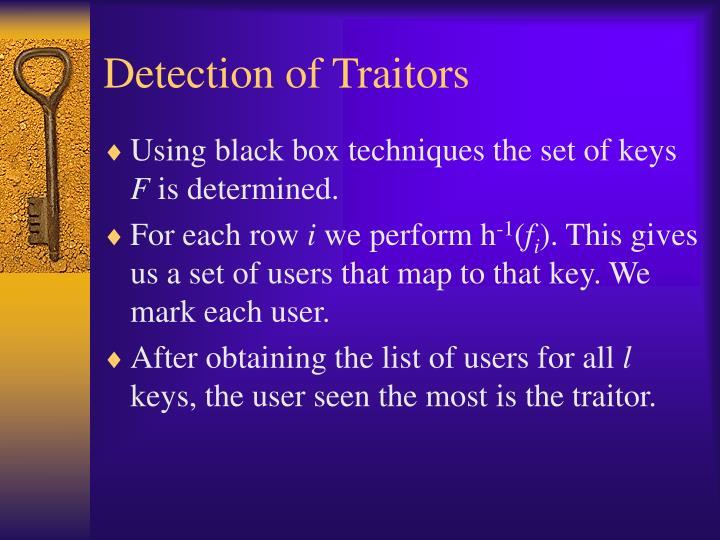 Detection of Traitors