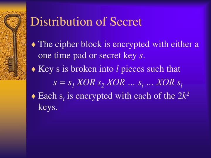 Distribution of Secret