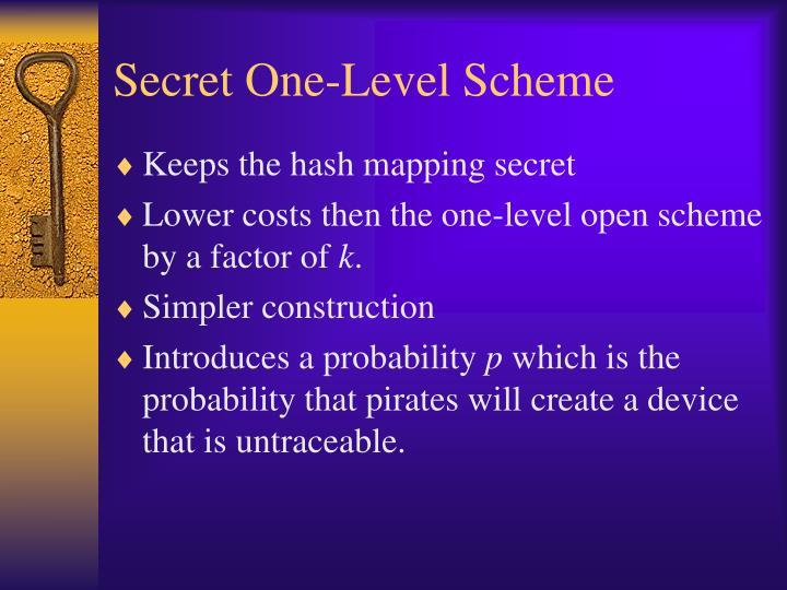 Secret One-Level Scheme