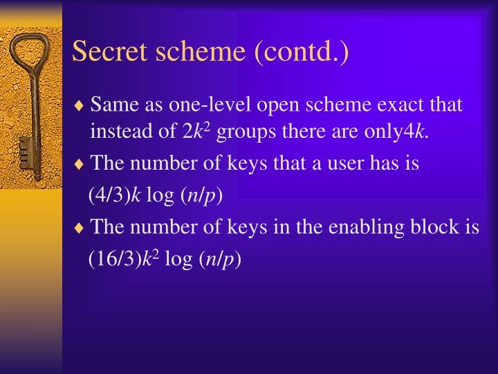 Secret scheme (contd.)