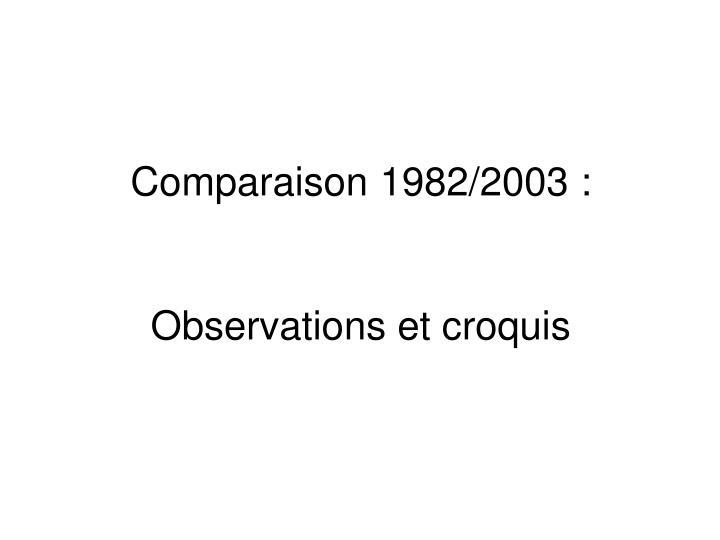 Comparaison 1982/2003 :