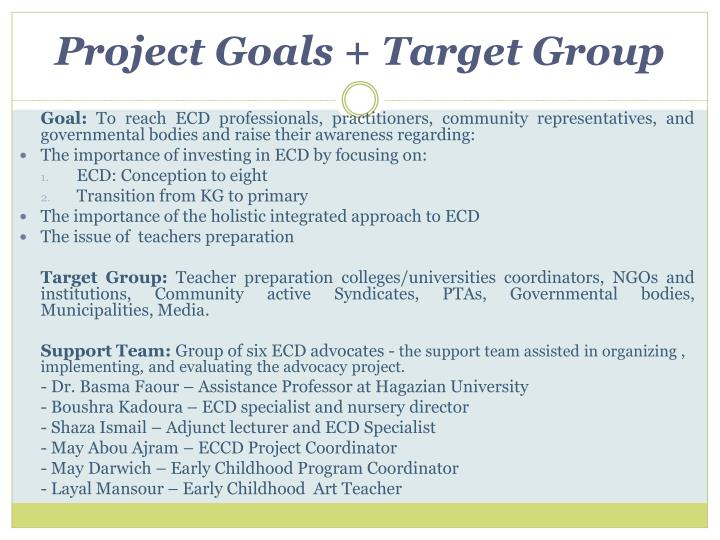 Project goals target group