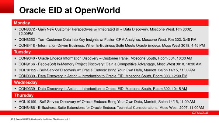 Oracle EID at OpenWorld
