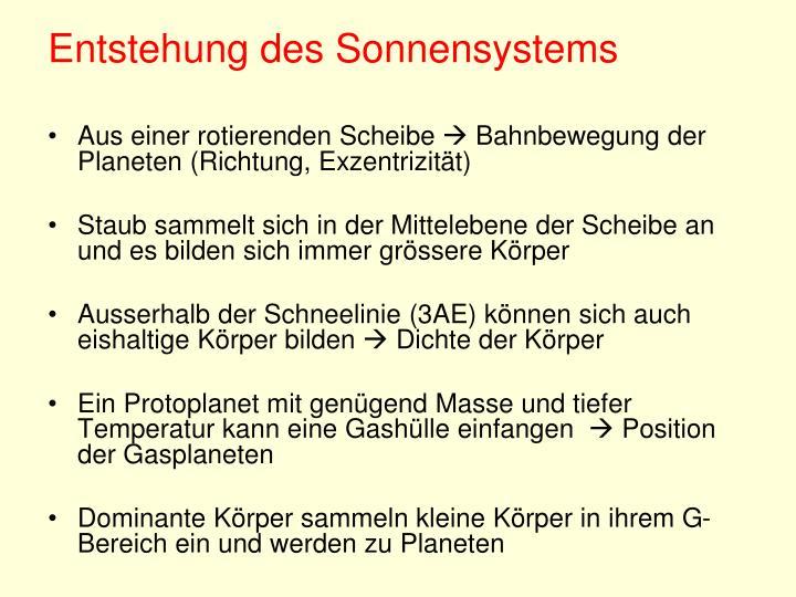 Entstehung des Sonnensystems