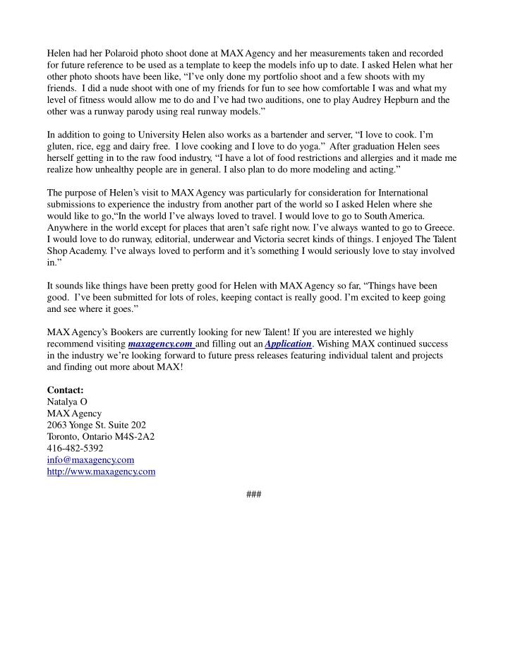 Max agency press release september 13 2014