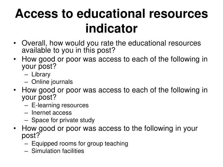 Access to educational resources indicator
