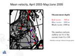 mean velocity april 2003 may june 2005