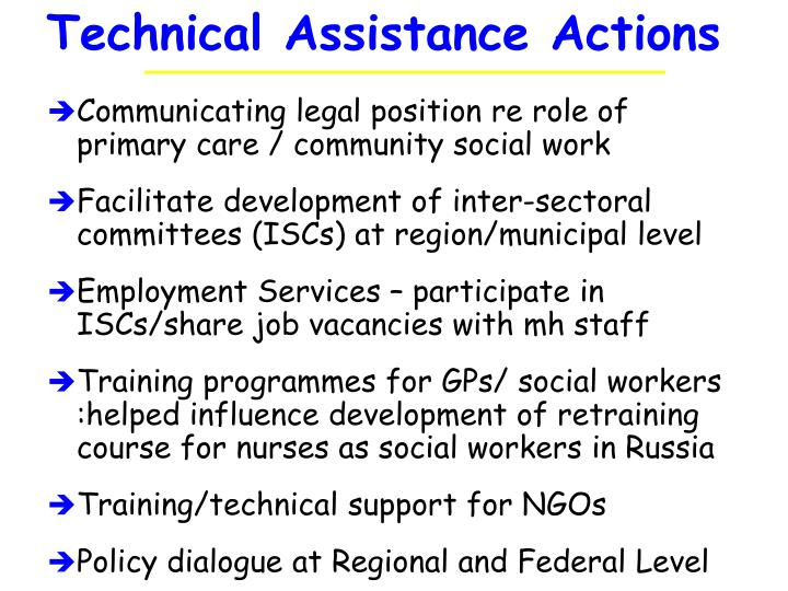 Technical Assistance Actions