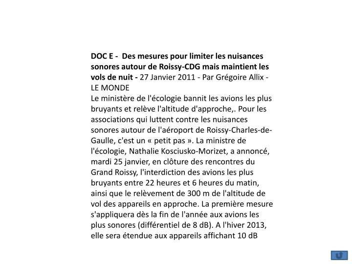 DOC E -  Des mesures pour limiter les nuisances sonores autour de Roissy-CDG mais maintient les vols de nuit -