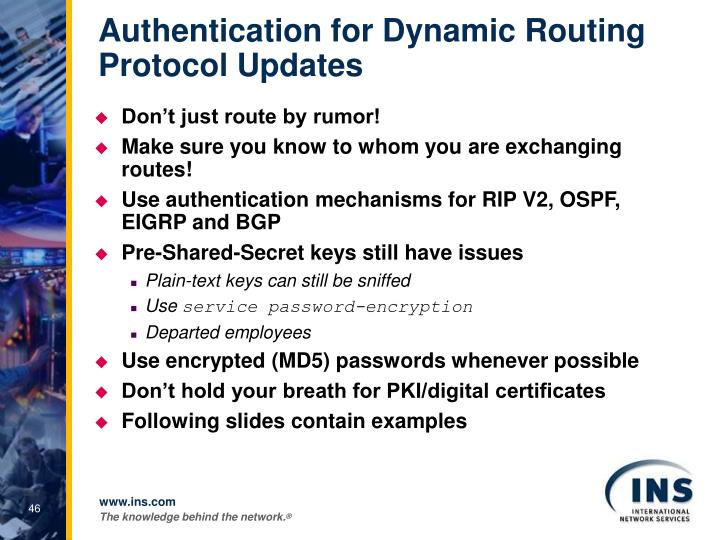 Authentication for Dynamic Routing Protocol Updates