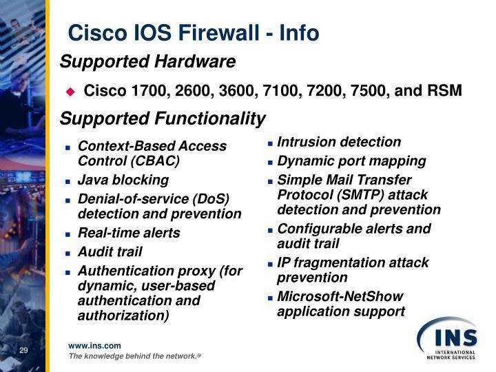 Cisco IOS Firewall - Info