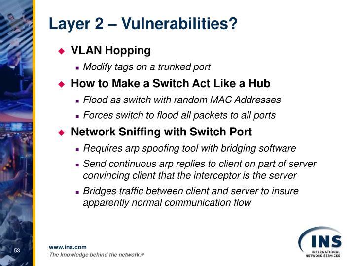 Layer 2 – Vulnerabilities?