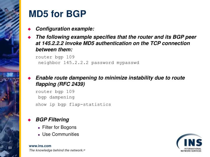 MD5 for BGP