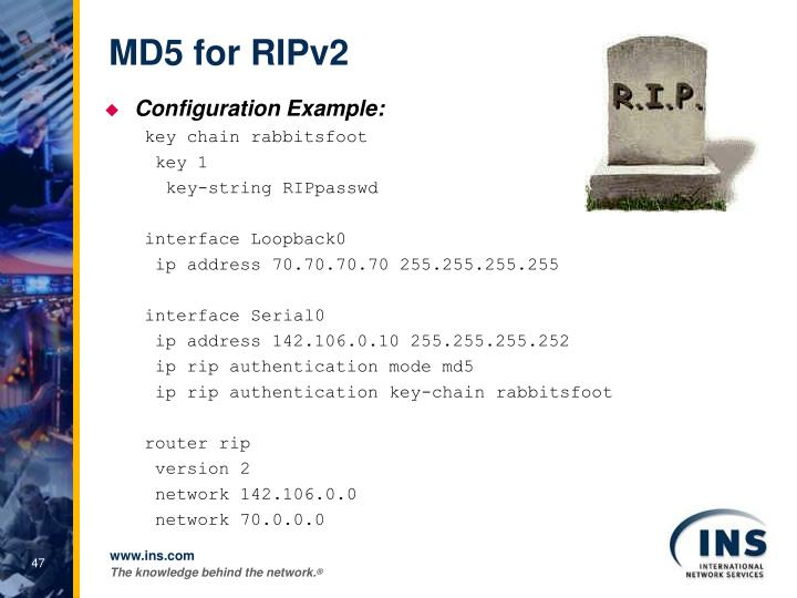 MD5 for RIPv2