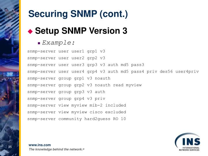 Securing SNMP (cont.)