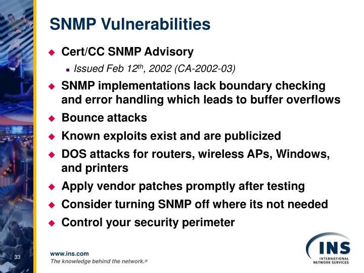 SNMP Vulnerabilities