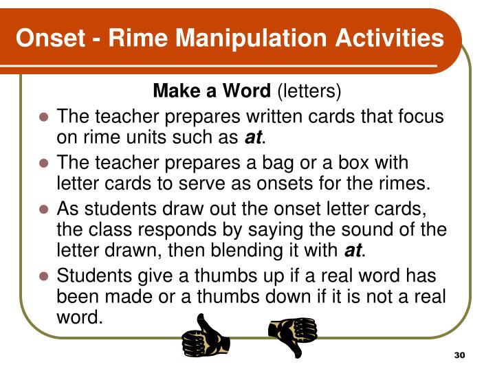 Onset - Rime Manipulation Activities