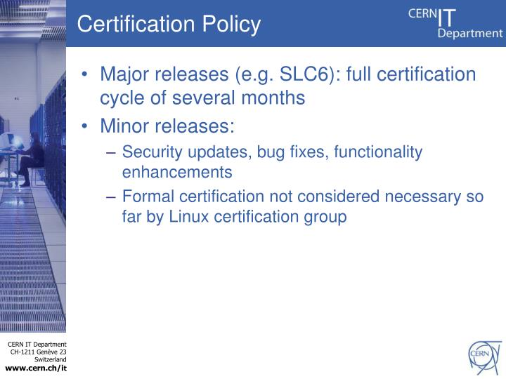 Certification Policy
