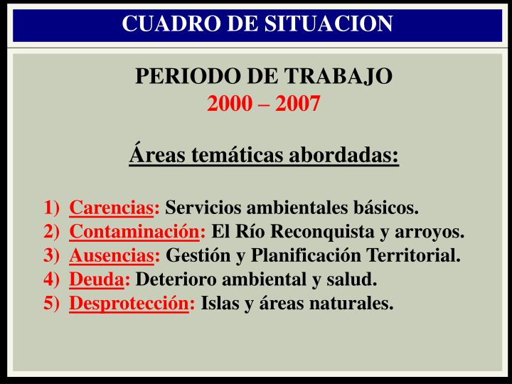 CUADRO DE SITUACION