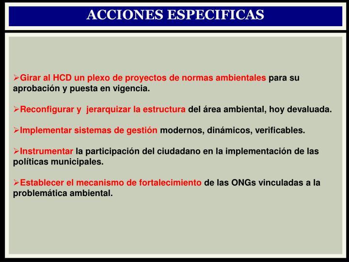 ACCIONES ESPECIFICAS