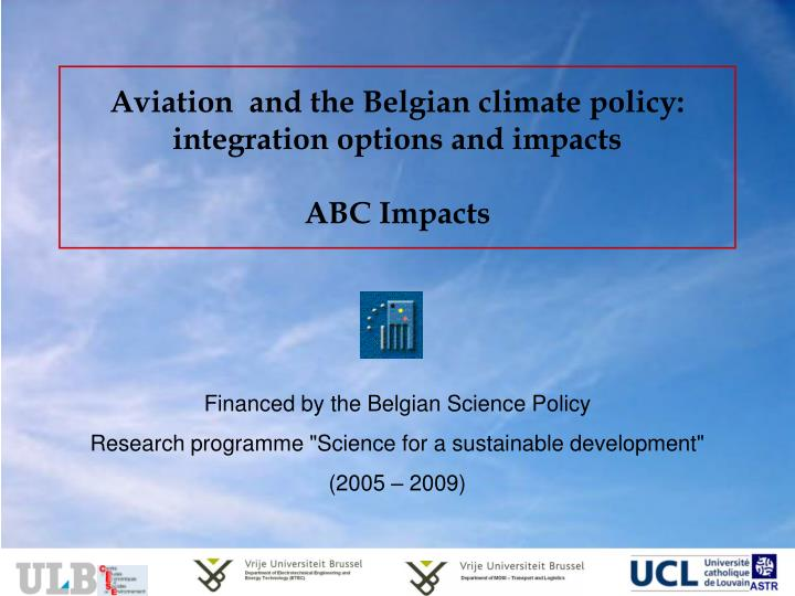 Aviation and the belgian climate policy integration options and impacts abc impacts