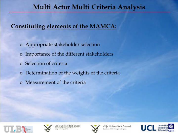 Multi Actor Multi Criteria Analysis