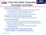from nov 2004 expanded oversight committee