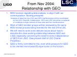 from nov 2004 relationship with geo