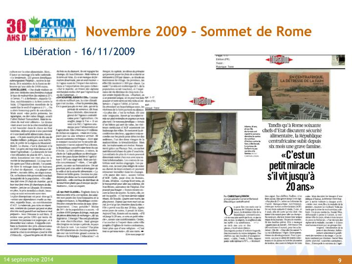 Novembre 2009 – Sommet de Rome