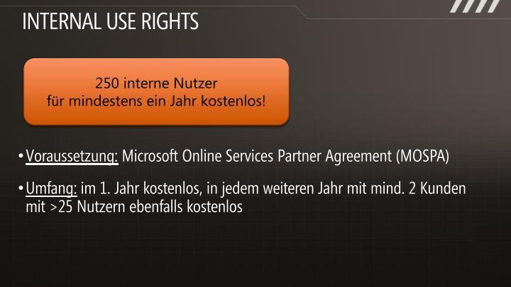 Internal use rights