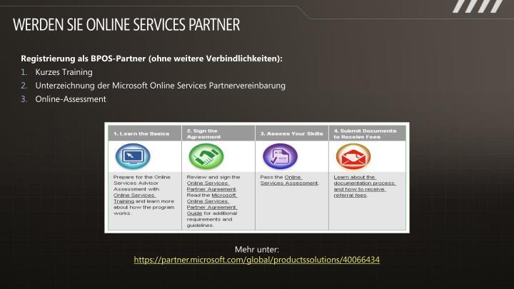 Werden Sie Online Services Partner