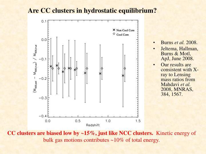 Are CC clusters in hydrostatic equilibrium?