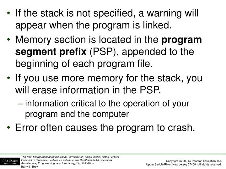 If the stack is not specified, a warning will appear when the program is linked.